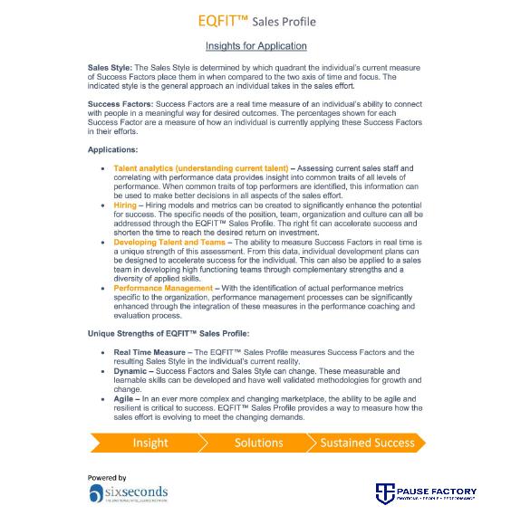 EQ Sales-FIt Profile